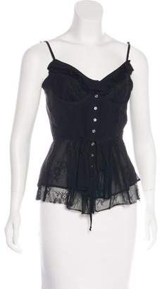 Elizabeth and James Lace-Accented Silk Top