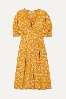 Faithfull The Brand Rafa Floral-print Crepon Midi Dress - Saffron