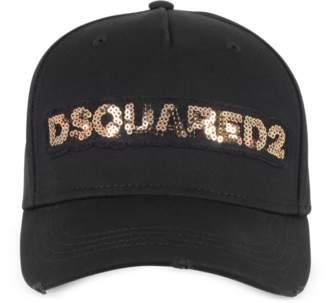 DSQUARED2 Black Cotton Gabardine Baseball Cap w/Gold Glitter Logo Signature
