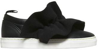 MSGM Leather Slip-On Sneakers W/ Felt Ruffle