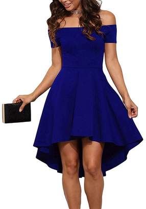Come On Comeon Women Short Off Shoulder Sleeve Dress Sexy High Low Skater Cocktail Clubwear