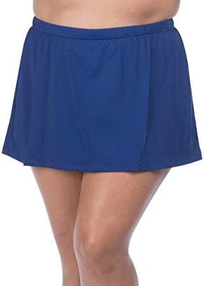 Maxine Of Hollywood Women's Plus Size Mid Rise Skirted Swim Pant Swimsuit