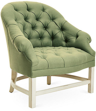 ... Bunny Williams Home Tufted Accent Chair   Alpine White/Green Linen