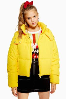 Topshop Womens Yellow Hooded Puffer Jacket - Yellow