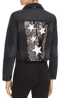 Aqua LUXE Capsule Sequined Cropped Denim Jacket - 100% Exclusive