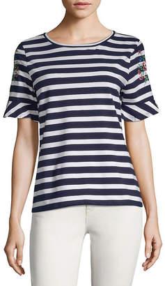 August Silk Two-Tone Striped T-Shirt