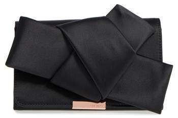 Ted Baker London Fefee Satin Knotted Bow Clutch - Black