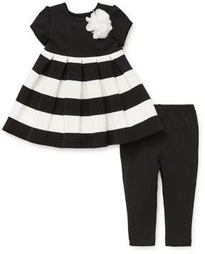 Little Me Baby Girl's Two-Piece Pleated Contrast Dress & Leggings Set