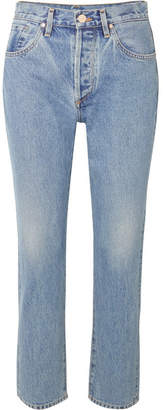 Gold Sign The Benefit High-rise Straight-leg Jeans - Light denim