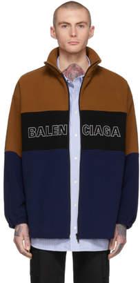 Balenciaga Brown and Blue Logo Track Jacket