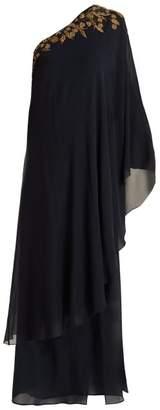 Dundas - One Shoulder Silk Georgette Kaftan Gown - Womens - Navy Gold
