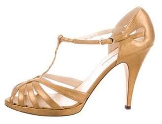 Oscar de la Renta Metallic T-Strap Sandals