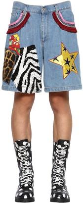 Moschino Cotton Denim Shorts W/ Patches