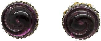 One Kings Lane Vintage Miriam Haskell Amethyst Glass Earrings - Thanks for the Memories