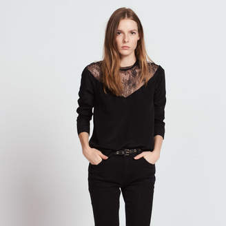 Sandro Silk top with lace collar