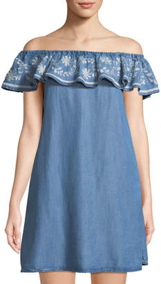 Chelsea & Theodore Off-The-Shoulder Embroidered Chambray Dress