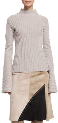 Derek Lam Ribbed Turtleneck Sweater, Quartz $995 thestylecure.com