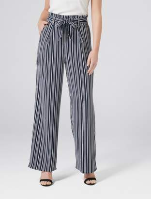 Forever New Andie Petite High Waist Wide Leg Pants - Stripe - 12