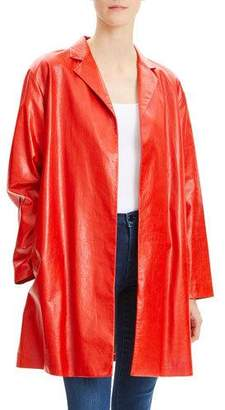 Theory Open-Front Varnished Lamb Leather Jacket