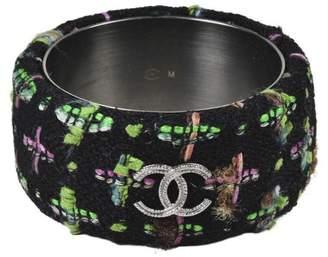 Silver Tone Hardware & Black Multicolor Tweed Bangle Bracelet