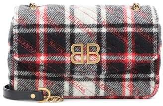 Balenciaga Chain Round S plaid shoulder bag