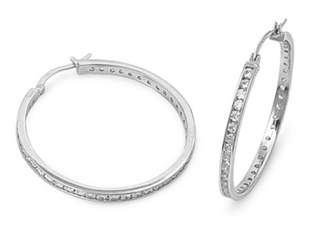 Chanel Glitzs 925 Sterling Silver Hoop Earrings With Set Round Cubic Zirconia