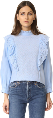 endless rose Ruffled Blouse with Wide Sleeves $102 thestylecure.com