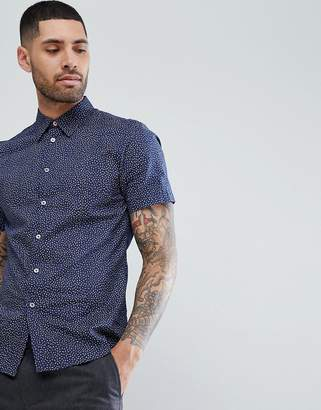 Paul Smith Tailored Fit Short Sleeve Micro Pattern Shirt In Navy