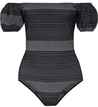 Lisa Marie Fernandez Leandra Off-the-shoulder Striped Cotton-blend Denim Swimsuit - Black