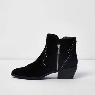 River Island Black studded western suede ankle boots