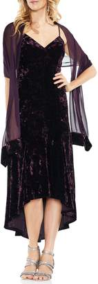 Vince Camuto Crushed Velvet Slip Dress with Scarf
