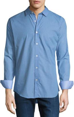 Bugatchi Shaped-Fit Grid Dot Sport Shirt