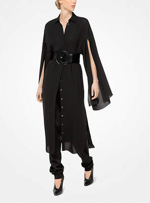 Michael Kors Silk-Georgette Slit-Sleeve Shirtdress