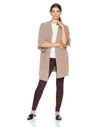 Lark & Ro Women's 100% Cashmere Oversized Drapey Open Cardigan Sweater with Pocket