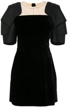 Vera Wang layered shoulder pads flared dress
