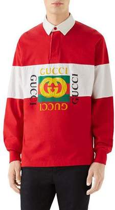 Gucci Men's Logo Rugby-Stripe Long-Sleeve Polo Shirt