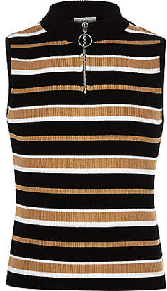 River Island Girls stripe zip knit tank top