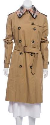Burberry Nova Check-Lined Double-Breasted Trench Coat