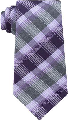 Kenneth Cole Reaction Men Plaid Stripe Slim Silk Tie