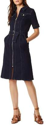 Karen Millen Zip-Front Denim Shirt Dress