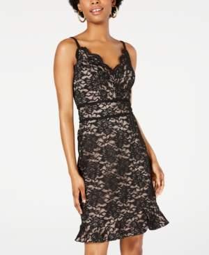Morgan & Company Juniors' Lace Ruffle-Hem Dress