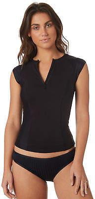 Swell New Surf Women's Short Sleeve Half Zip Rash Vest Polyester Elastane Black
