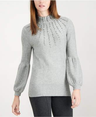 Alfani Petite Beaded Balloon-Sleeve Sweater