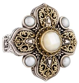 Konstantino Two-Tone Mother of Pearl & Pearl Cross Ring