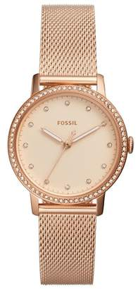 Fossil Neely Crystal Mesh Strap Watch, 34mm