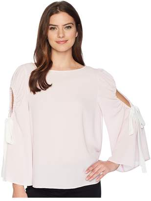 Vince Camuto Bell Sleeve Tie Cold Shoulder Blouse Women's Blouse