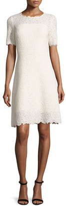 Elie Tahari Ophelia Half-Sleeve Lace Dress, Off White/Cream $498 thestylecure.com