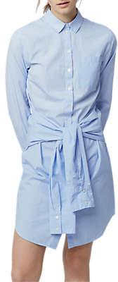 Warehouse Tie Waist Shirt Dress, Light Blue
