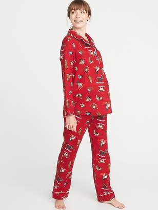 Old Navy Maternity Printed Flannel Pajama Set