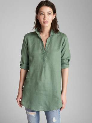 Gap Popover Boyfriend Tunic Shirt in Linen